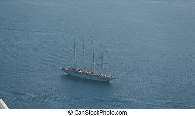 Ship floats on the clear blue Mediterranean Sea