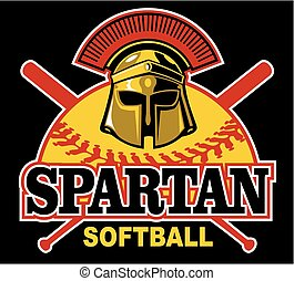 spartan softball team design with mascot helmet for school,...