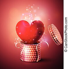 Box With Heart in retro style Background, Vector...