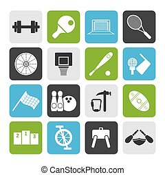Flat Sports gear and tools - vector icon set