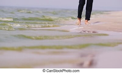 The man in trousers walks on water