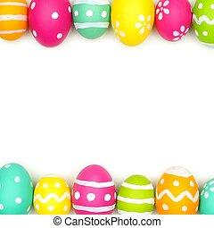Easter egg double border on white - Colorful Easter egg...