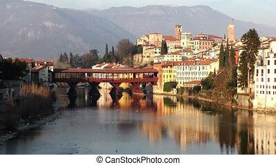 Old wooden bridge in Bassano