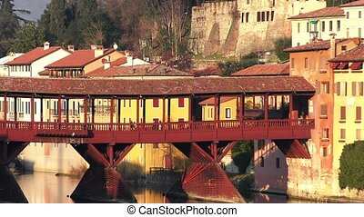Old wooden bridge in Bassano