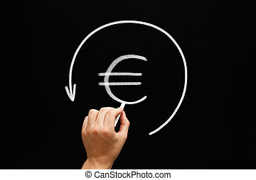 Refund Euro Arrow Concept Blackboard - Hand sketching Euro...