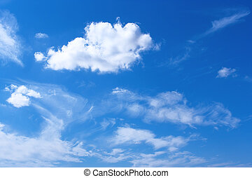 White clouds in blue sky - blue sky and white, light clouds...