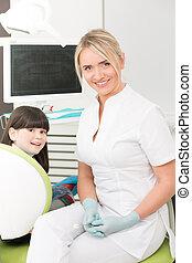 Little girl at dentist's office