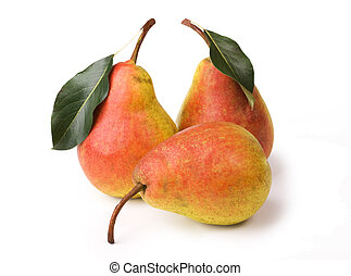 Ripe pears with leaves on white background