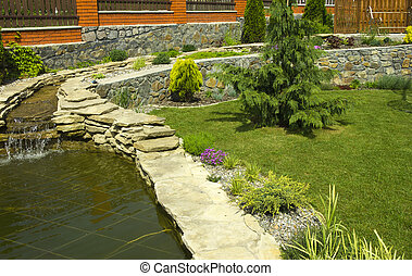 Botanical Garden with a small waterfall and a pond