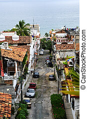 City street in Puerto Vallarta, Mexico - Street leading to...