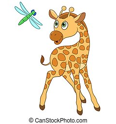 giraffe and dragonfly - cute giraffe is happy to see...