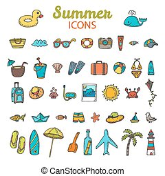 Beach icons collection. Hand drawn summer vector icon set.  Vacation