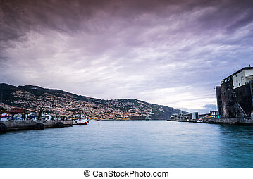 Ferry coming to a harbor in Funchal, Madeira