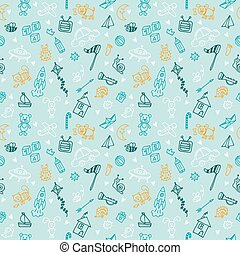 Hand drawn children drawings color seamless pattern. Doodle children drawing background. Background for cute little boys