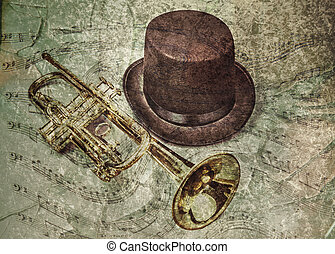 Trumpet Player's Song - Old trumpet and hat with a textured...
