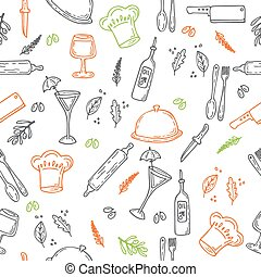 Hand drawn food seamless pattern. Sketch kitchen elements for your design
