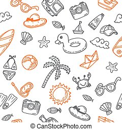 Hand drawn seamless summer pattern with beach icons. Background on a beach theme