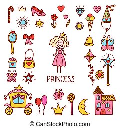 Little princess design elements. Cute hand drawn princess collection. Sweet princess set of vector icons