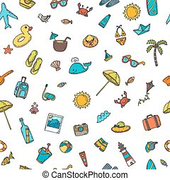 Seamless summer pattern with hand drawn beach icons. Vector beach background. Summer print. Vacation doodle icons