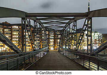 Hamburg famous Speicherstadt by night in Germany