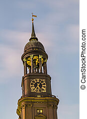 st. michaelis church hamburg germany at night - st....