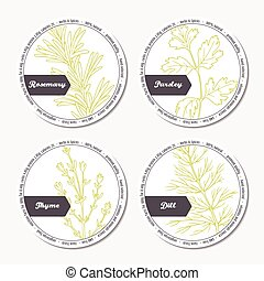 Set of stickers for package design with rosemary, parsley, dill, thyme