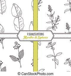 Hand drawn seamless patterns collection with kaffir lime,...