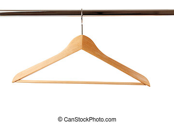 wooden hanger - the wooden hanger on white background