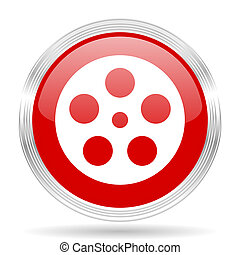 film red glossy circle modern web icon on white background