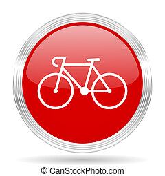 bicycle red glossy circle modern web icon on white...