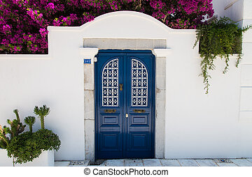 Blue Gate - Blue gate of a house in Bodrum Town, Turkey