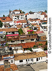 Rooftops in Puerto Vallarta, Mexico - View from above at...