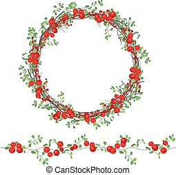 Round wreath with red berries isolated on white. For festive...