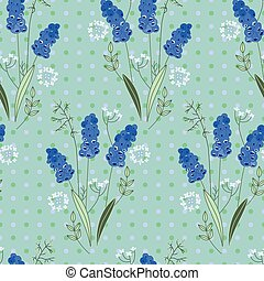 Seamless pattern with stylized cute blue muscari. Endless...