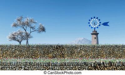 traditional windmill in Mallorca, Balearic Islands