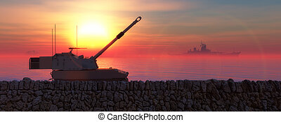 sunset and militaryboat and tank