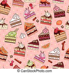 Seamless pattern with fruit cake slices. Different taste and...