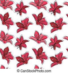 Seamless floral pattern with stylized lilies