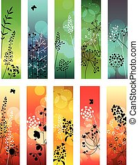 Floral abstract template with stylized herbs and plants...
