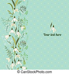 Floral spring template with cute bunches of snowdrops -...