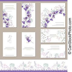 Floral spring templates with cute bunches of bluebells -...