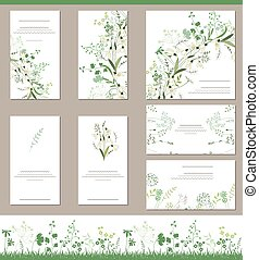 Floral spring templates with cute bunches of snowdrops....