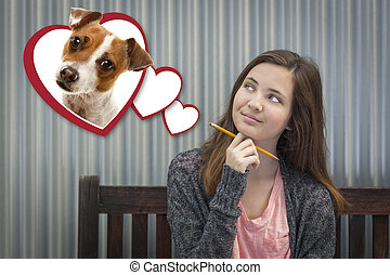 Daydreaming Girl Next To Floating Hearts with Puppy Within -...