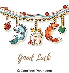 Bracelet vector card with lucky charms