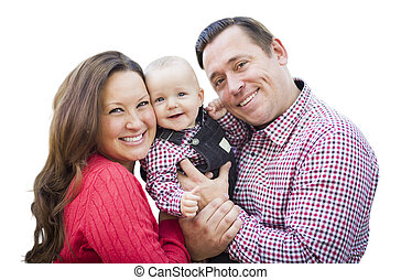 Baby Boy Having Fun With Mother and Father Outdoors Isolated
