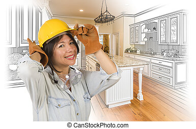 Hispanic Woman in Hard Hat with Kitchen Drawing and Photo