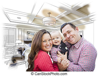 Young Family With Baby Over Bedroom Drawing and Photo -...