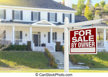 For Sale By Owner Real Estate Sign and House - For Sale By...