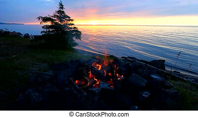 Great Lakes Beach Landscape - Sunset fire along the...