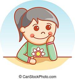 Wondering cute girl
